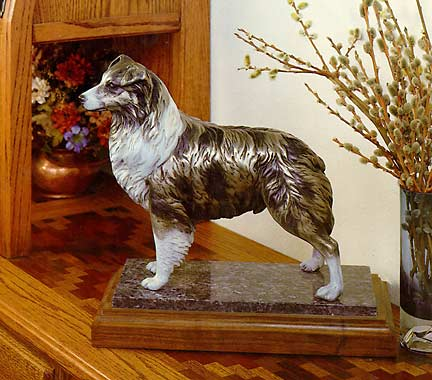 Australian Shepherd, Aussie Dog, Bronze sculpture