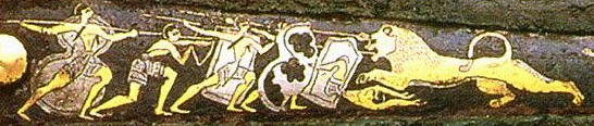 Decoration  showing a lion hunt on a bronze age dagger from Pylos